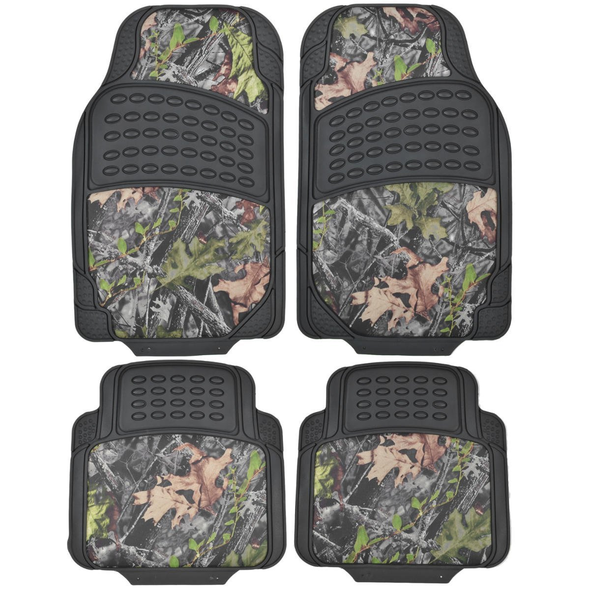 Heavy Duty Fit Most Car Truck SUV MT-684-CM Trimmable BDK Camouflage 4 Piece All Weather Waterproof Rubber Car Floor Mats