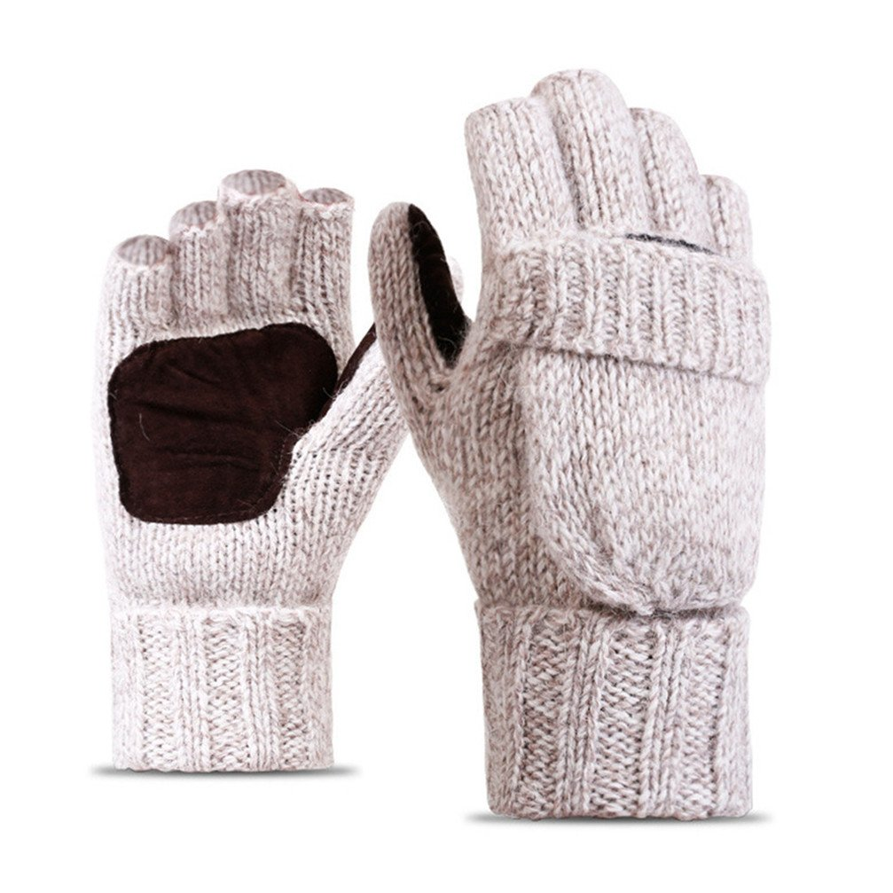 Affe Men Women Winter Thermal Fingerless Wool Knit Gloves with Mitten Cover Beige