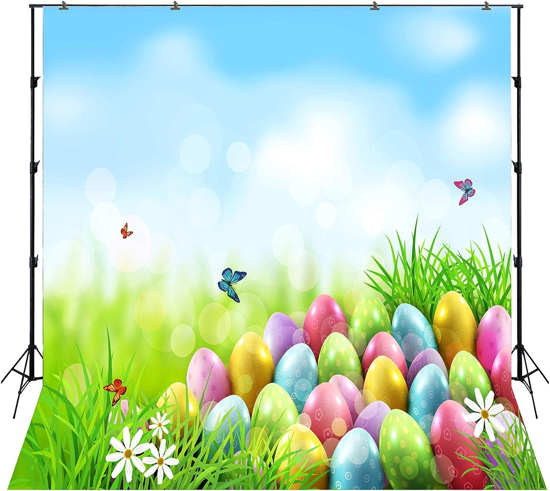 CdHBH 8x6.5ft Vinyl Easter Photography Background Hanging Easter Eggs Spring Pink Peach Blossom Falling Petals Backdrop Child Kids Baby Girl Portrait Greeting Card Easter Egg Hunt Wallpaper