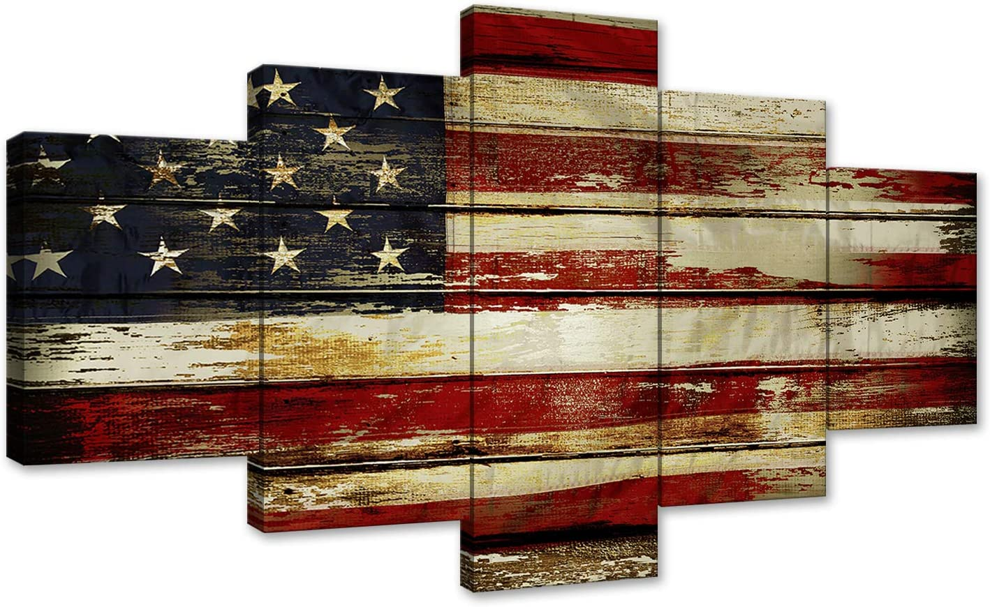 Vintage Wooden Style American Flag Independence Day Canvas Wall Art Painting 5 Panel Modern Posters and Prints Pictures for Living Room, Home Decor USA Flag Framed Ready to Hang