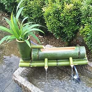 LXDDP Fuente bambú Fuente Agua Jardín Fuente Hecha a Mano Bomba Esculturas Estatuas Artes Artesanías Decoración jardín Cascada Jardín japonés al Aire Libre Característica: Amazon.es: Deportes y aire libre