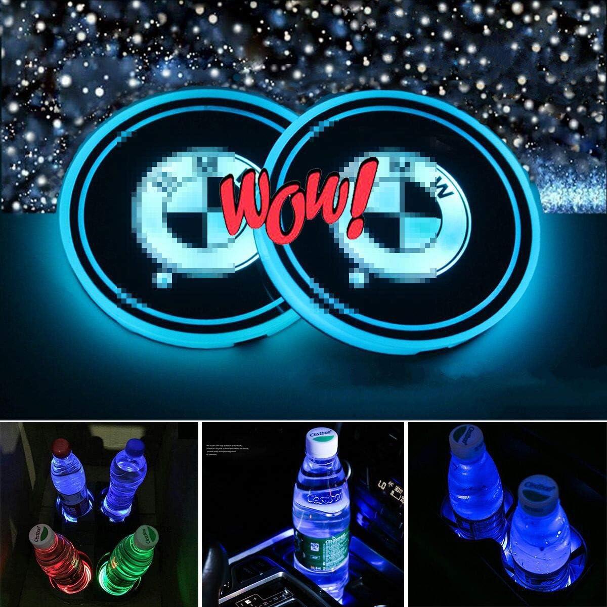 Choisissez Votre Voiture KINBEAR Porte-gobelet LED Voiture Coaster 7 Couleurs Porte-gobelet de Chargement USB Porte-Boisson Luminescence LED int/érieure Voiture D/écoration Lumi/ère