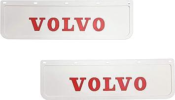 2 Stück Strapazierfähige Gummi Schmutzfänger Für Lkw Und Anhänger 60 X 18 Cm Weiß Mit Rot Auto