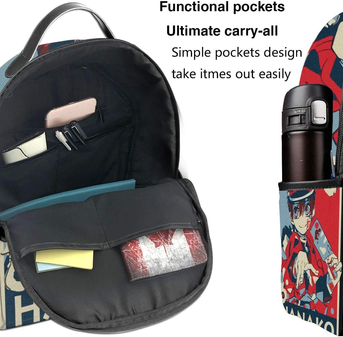 Toilet-Bound Hanako-Kun Fashion Print Backpack Unisex Casual Daypacks Daypack High Capacity
