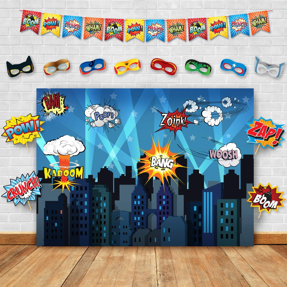 Superhero Cityscape Photography Backdrop, Studio Props, Flags and Mask DIY Kit. Great as Super Hero City Photo Booth Background - Birthday Party and Event Decorations by Glittery Garden (Image #1)