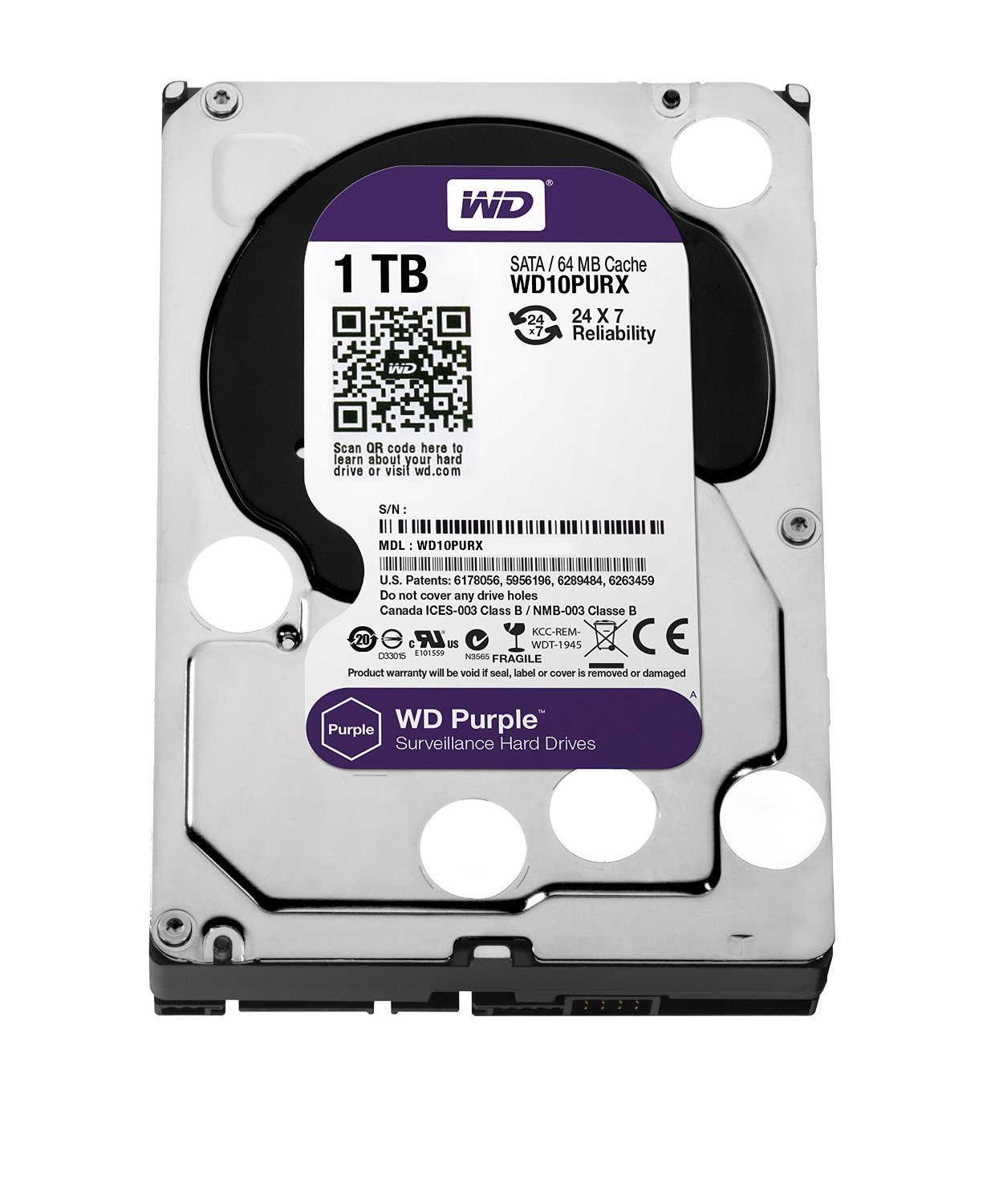 WD Purple 1TB Surveillance Hard Disk Drive - 5400 RPM Class SATA 6 Gb/s 64MB Cache 3.5 Inch - WD10PURX [Old Version] (Certified Refurbished) by Western Digital
