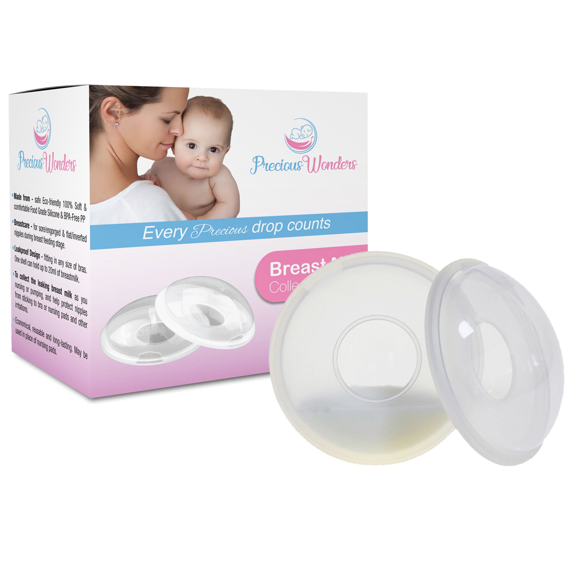 Breastfeeding Milk Saver, Nursing cups, Breast Shells, Collect Breastmilk Letdown, Milk Collector, Protect Sore Nipples, Soft Flexible Silicone, Breast Pad Compliment, Reusable 2-PK - Precious Wonders