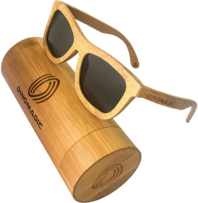 DINOMADic | Unisexo Bambú Gafas de Sol Polarizadas en Caja de Madera Redondeada (Lonwood)