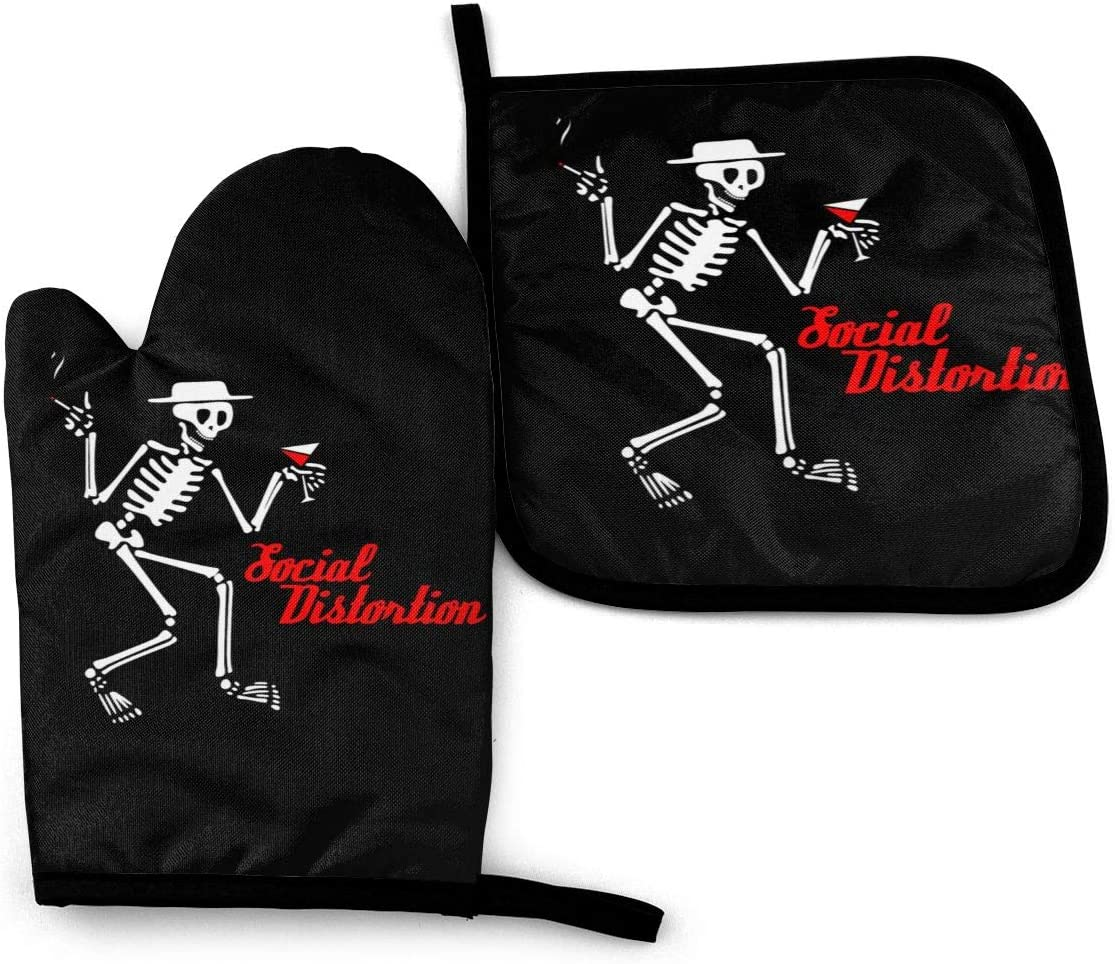TOLUYOQU Oven Mitts Social Distortion Skeleton Non-Slip Heat Resistant Kitchen Oven Gloves with Potholder for Cooking Baking