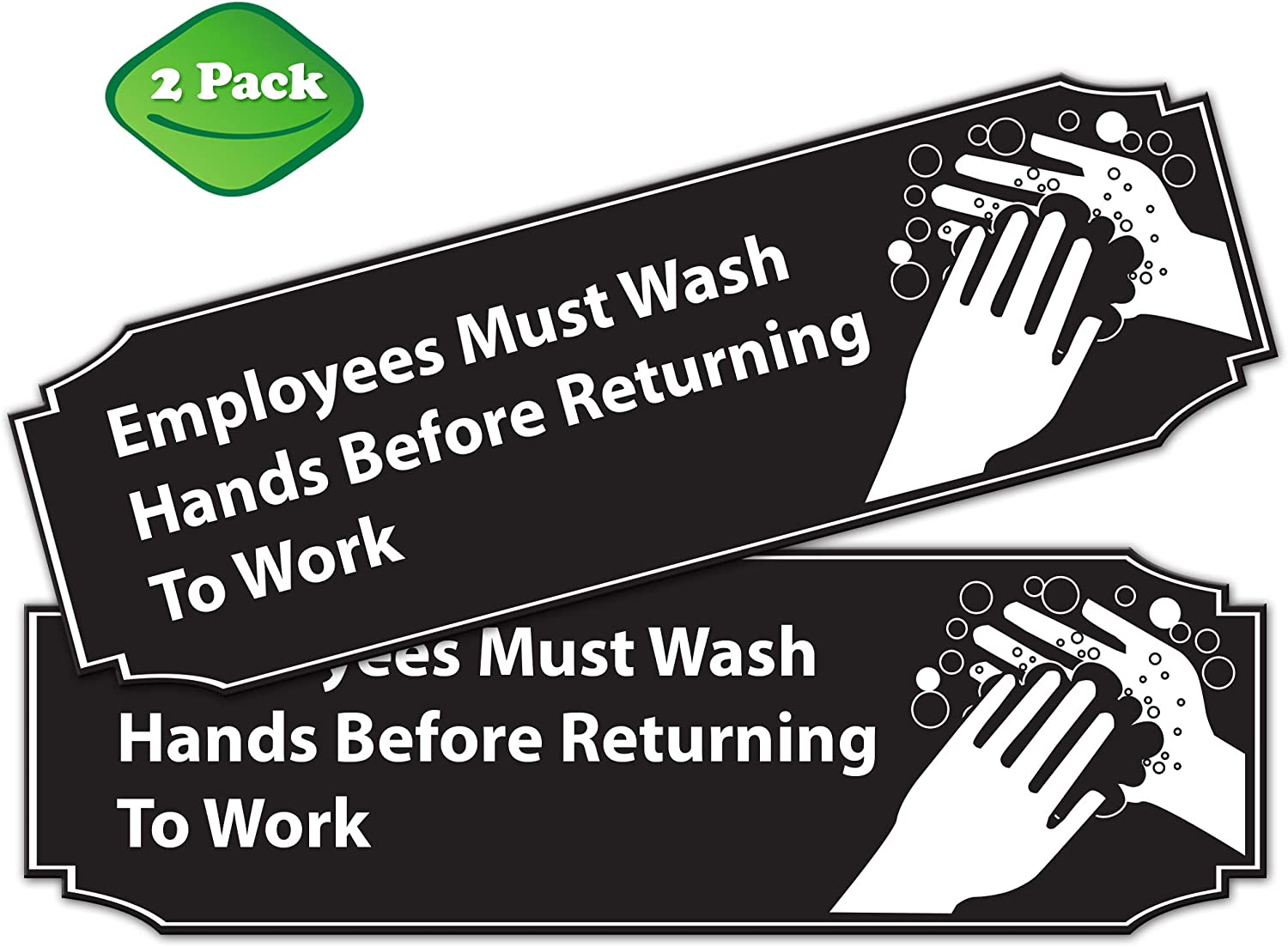 """Employees Must Wash Hands Before Returning to Work Sign White and Black Aluminum 9"""" x 3"""" • Great for for Restaurants, Salons, Hotels, Motels, Gas Stations, Rest Stops • 3M Tape on The Back"""