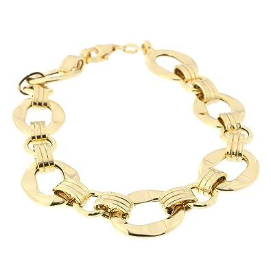 cfaf173d23549 Amazon.com: 14k Yellow Gold Hammered Oval Link Bracelet, 8