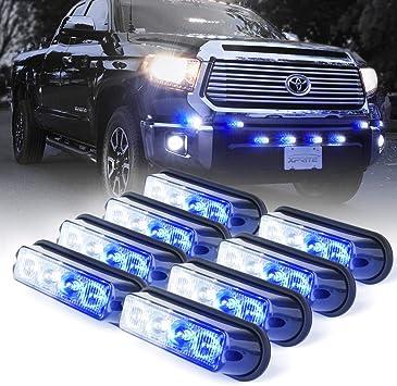 Xprite Blue 4 LED 4 Watt Emergency Vehicle Waterproof Surface Mount Deck Dash Grille Strobe Light Warning Police Light Head with Clear Lens