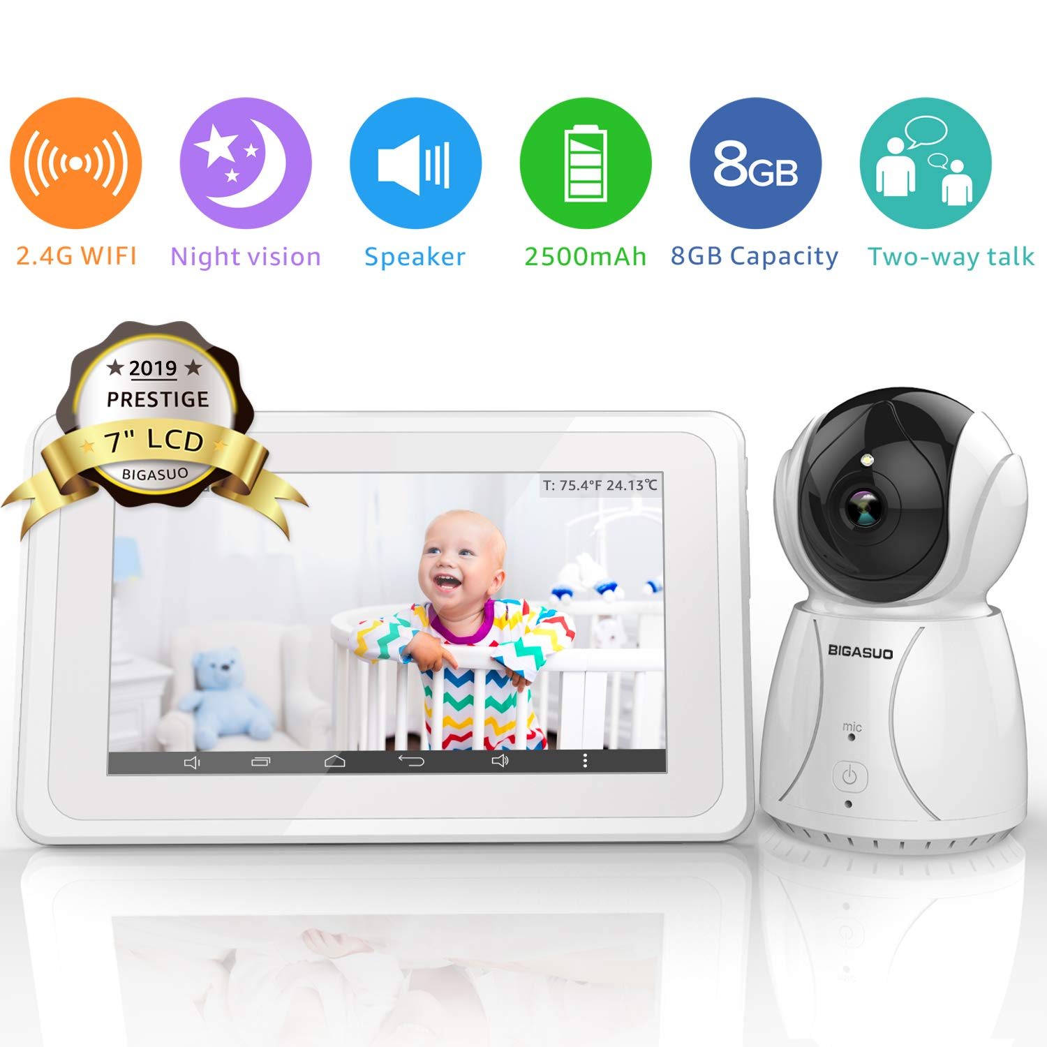 BIGASUO Upgrade Baby Monitor, Video Baby Monitor 7'' Large LCD Screen, Baby Monitors with Camera and Audio Night Vision, Support Multi Camera, Two Way Talk Temperature Sensor, Built-in Lullabies