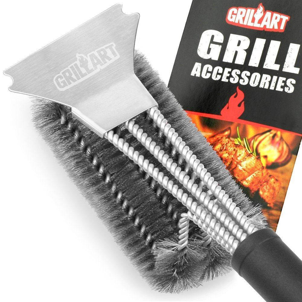 GRILLART Grill Brush and Scraper 360° Clean Grill Brush, Safe 18'' Stainless Steel Barbecue Brush Cleaner with Triple Scrubber, Best Accessories for Grill Cooking Grates and Burners Cleaning