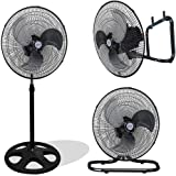 """Kool-it 3 in 1 Premium Large High Velocity Industrial Black Floor Fan 18"""" Floor Stand Mount Oscillating"""