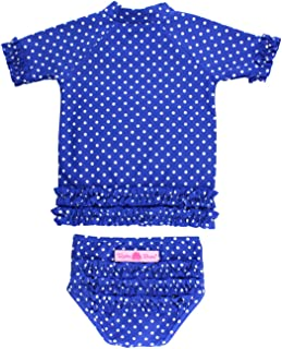 RuffleButts Little Girls Sapphire Polka Dot Ruffled Rash Guard Bikini RuffleButts Little Girls Sapphire Polka Dot Ruffled Rash Guard Bikini - Blue - RGSSA3T-1PPS