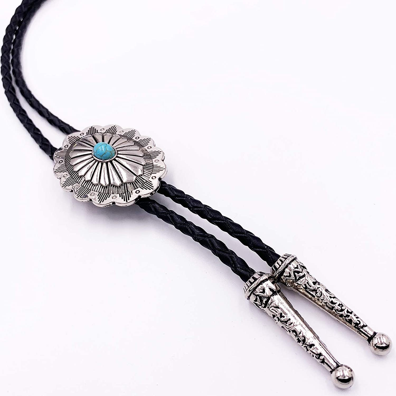 SELOVO Vintage Style Western Celtic Knot Black Silver Tone Bolo Tie