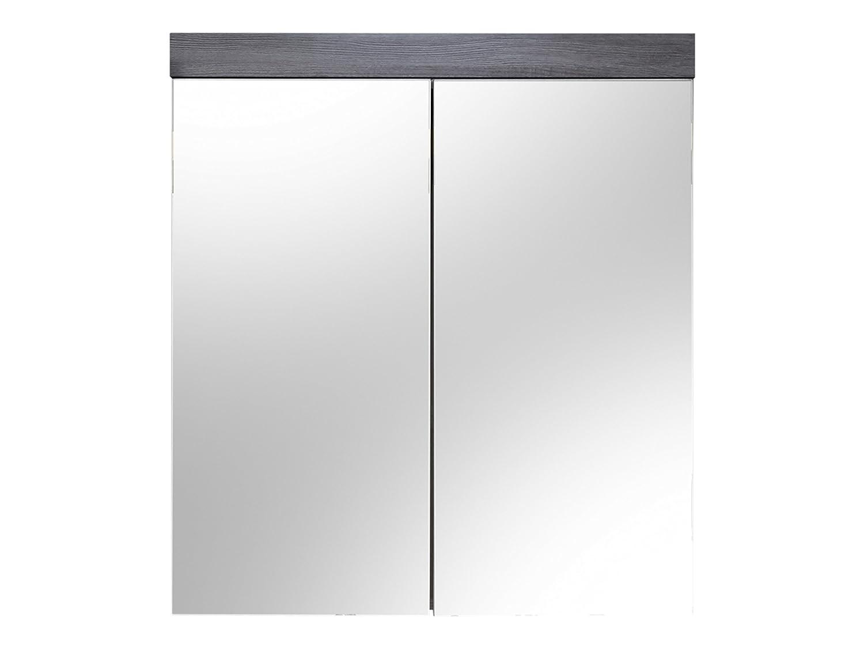Maisonnerie 1259-405-21 Miami Armoire Murale-Miroir pour Meuble de Salle de Bain Blanc Mélaminé-Argent Cendré 72 -0 x
