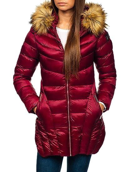 BOLF Damen Winterjacke Steppjacke Jacke Reißverschluss Zip Kapuze Casual  Style Miss FOFO M18 Weinrot L   bbf4e9f628