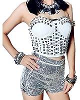 Women Silver Sequins High Waist Celebrity Shorts Jazz Dancing Party Hot Pants