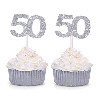 Set Of 24 Silver Number 50 Cupcake Toppers 50th Birthday Celebrating Party Decors