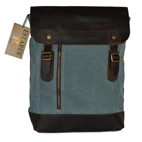 fc30acb77af66 Vintage Rucksack Canvas Leder Rucksack für Uni und laptop(15 Zoll)  Reisetasche (grün