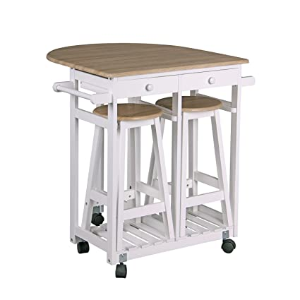 Amazon.com: Home Basics KT44131 Kitchen Trolley with 2 Stools ...