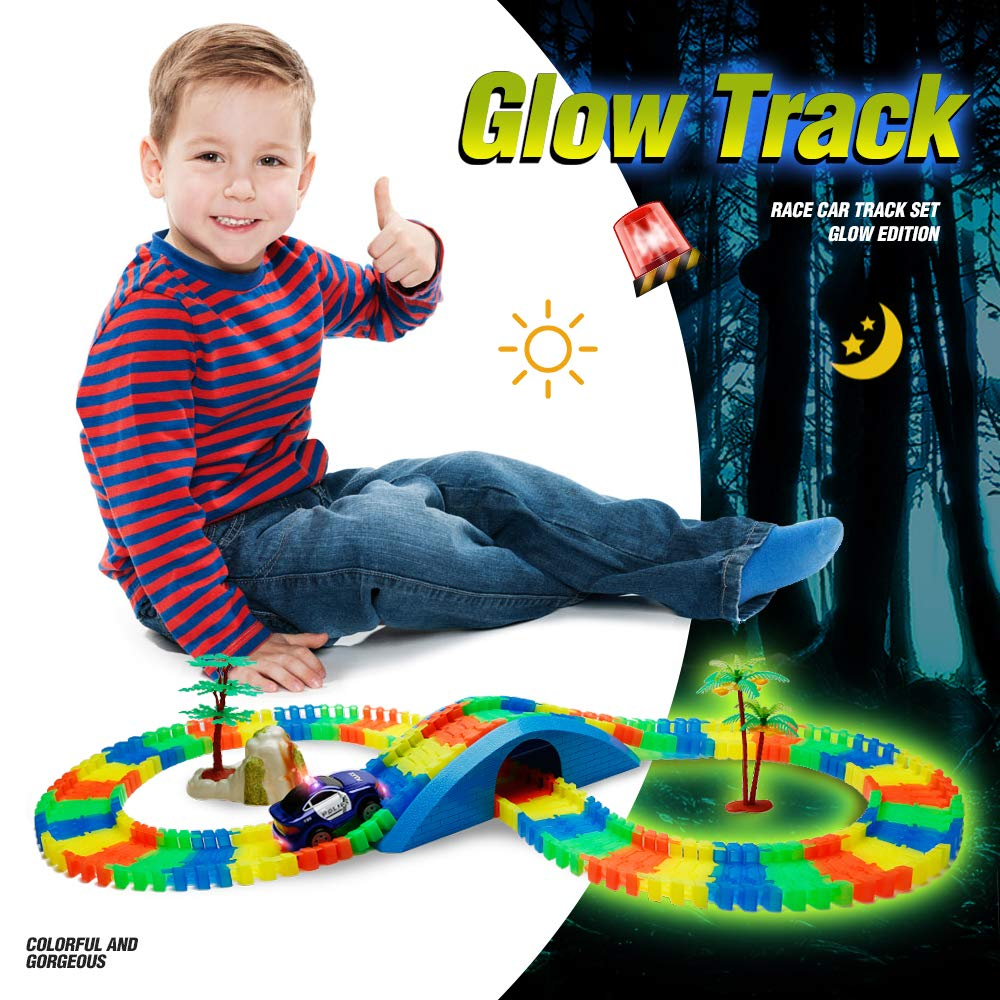 Blue Aole Glow Race Car Track for Boys Luminous Race Tracks Set Toy Educational Twisted Flexible Tracks 154 Pcs with Electric Police Car Rockery Tree Arch Bridge Toys for Kid