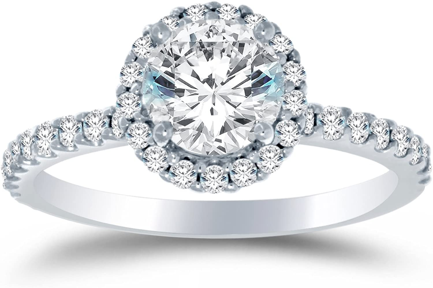 - Available in all ring sizes 4-9.5 /& Comes With Elegant Velvet Ring Box Solid 925 Sterling Silver Highest Quality CZ Cubic Zirconia Engagement Ring Round Brilliant Cut Solitaire with Round Side Stones 1.5cttw., 1.0ct. Center