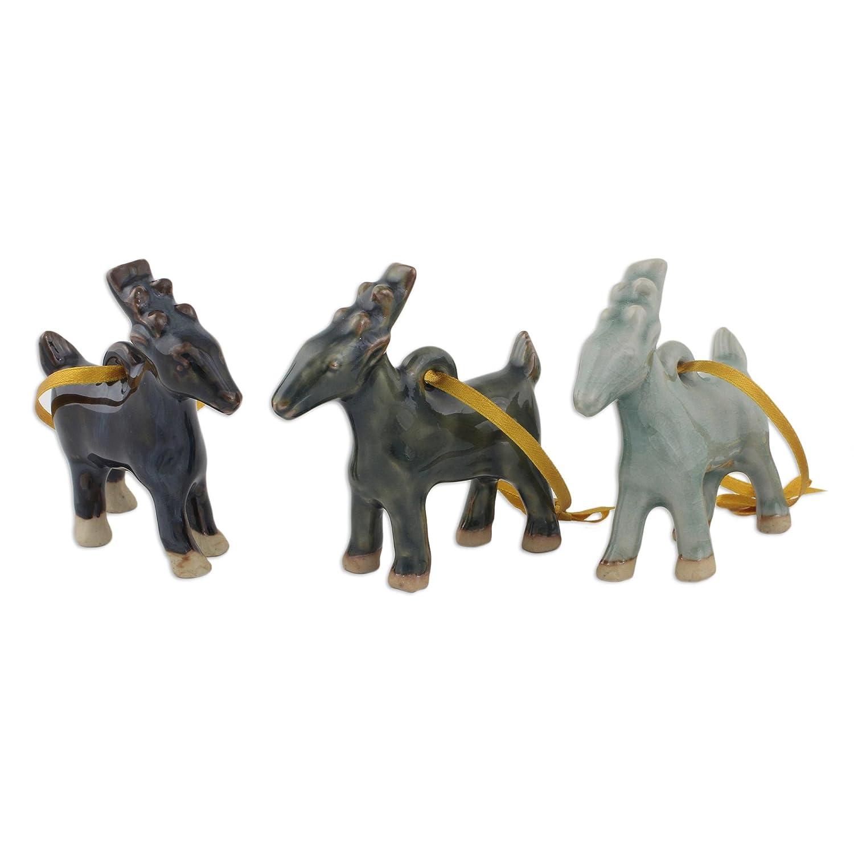 Set of 3 Celadon Ceramic Ornaments NOVICA HD0016 Siam Elephant Trio