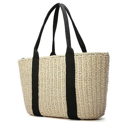 7310e6e504 Tezoo, borsa da donna, in paglia, estiva, da spiaggia, in vimini ...