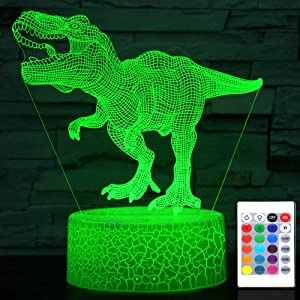 Cherish tea Dinosaur Night Light T-Rex 3D Illusion Lamp 7 or 16 Colors Changing - Birthday Gift Dinosaur Toys for Boys Kids Bedroom Decor Lights - with Remote & Smart Touch & USB Cable Christmas Gift