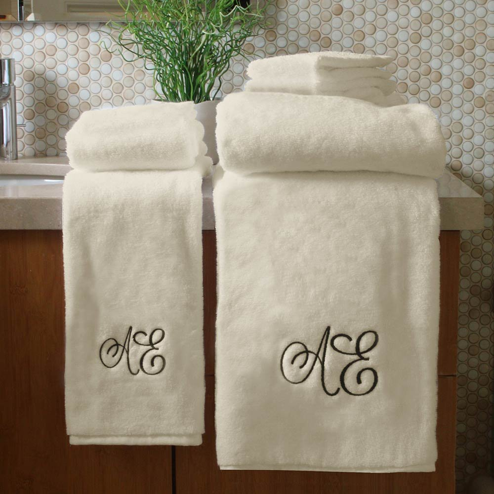 Personalized Monogrammed Decorative Bath Linens for Home, Office, and Gifts. Hotel Collection 100% USA Made 6-Piece Towel Set - Natural/Beige - 2 Bath, 2 Hand & 2 Wash Towels. Boutique Towels.