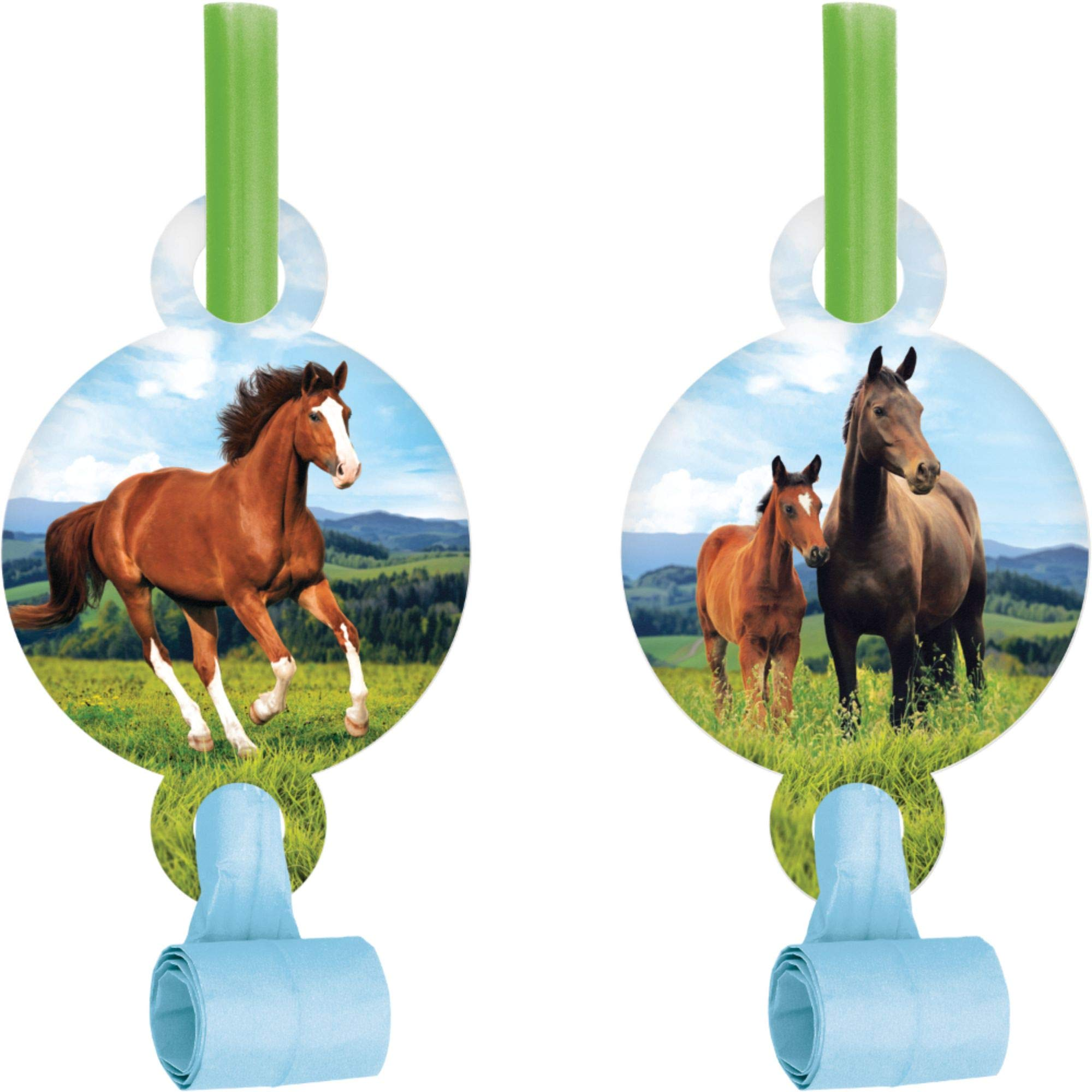 Club Pack of 48 Blue and Green Horse and Pony Blowout Party Noisemakers 5.25'' by Party Central
