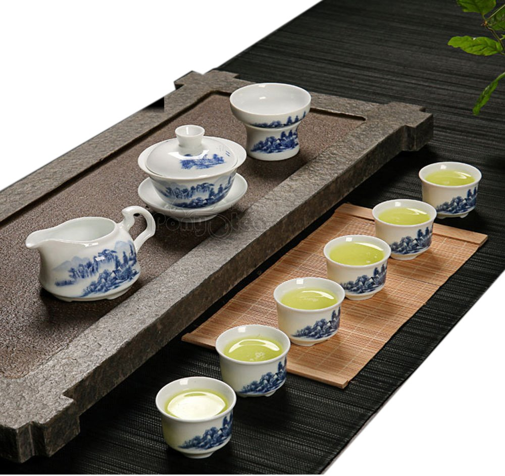 Modern Ceramic Tea Sets For Gift And Home Use Snow Landscape Painting ufengke 13 Piece Chinese Porcelain Kungfu Tea Cup Set With Tea Bowl And Strainer