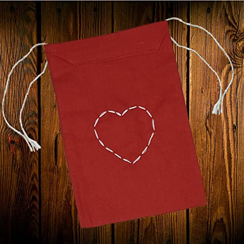 "set of 16 Heart Embroidery Red Cotton 2 sided Drawstring Pouch Favor bag 4"" X 6"""