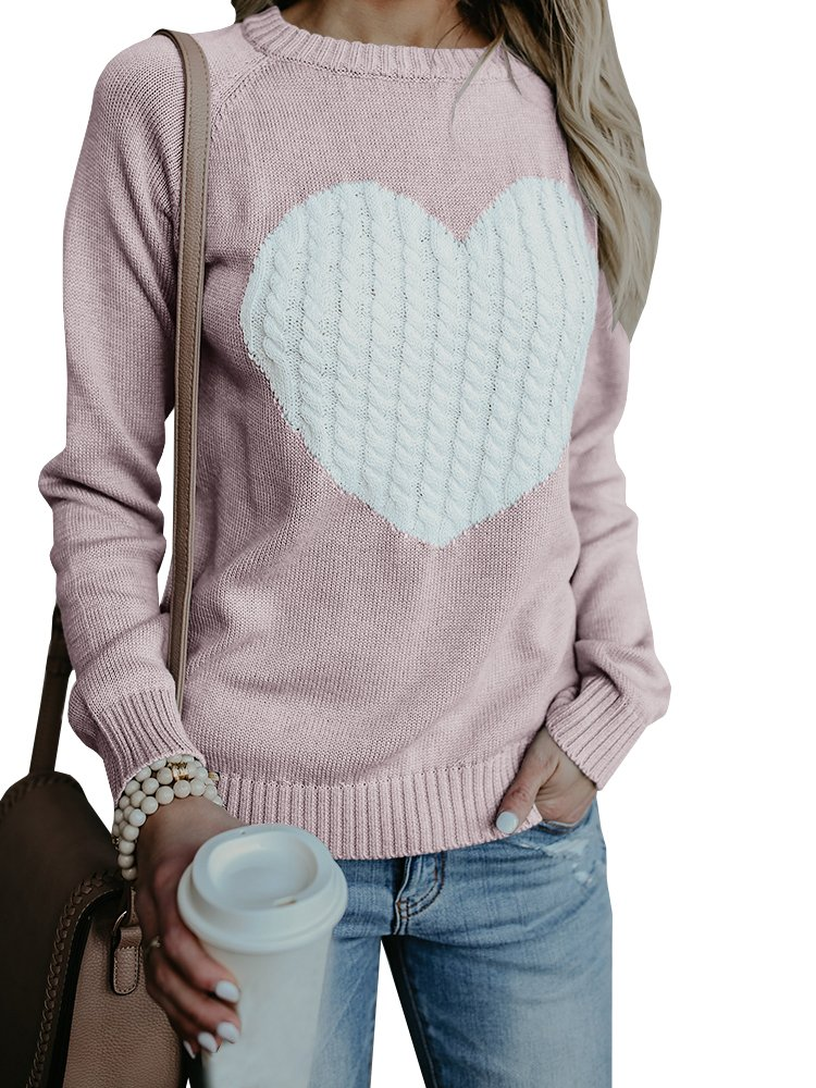 Chimikeey Womens Sweaters Pullover Crew Neck Heart Love Knit Loose Sweater Jumper
