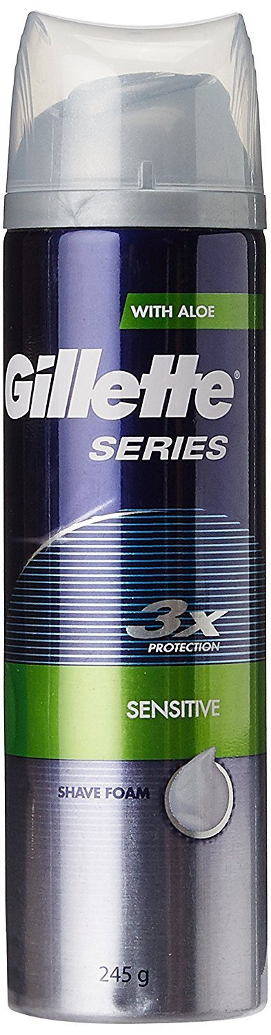 Gillette Series 3x Protein Sensitive Shave Foam with Aloe - 245 g