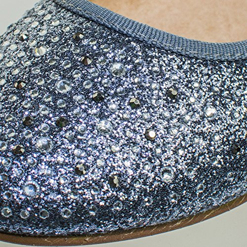 Womens Round Toe Ballet Flats with Iridescent Rhinestone Studs on Glitter Vamp Blossom Silver cRKfny