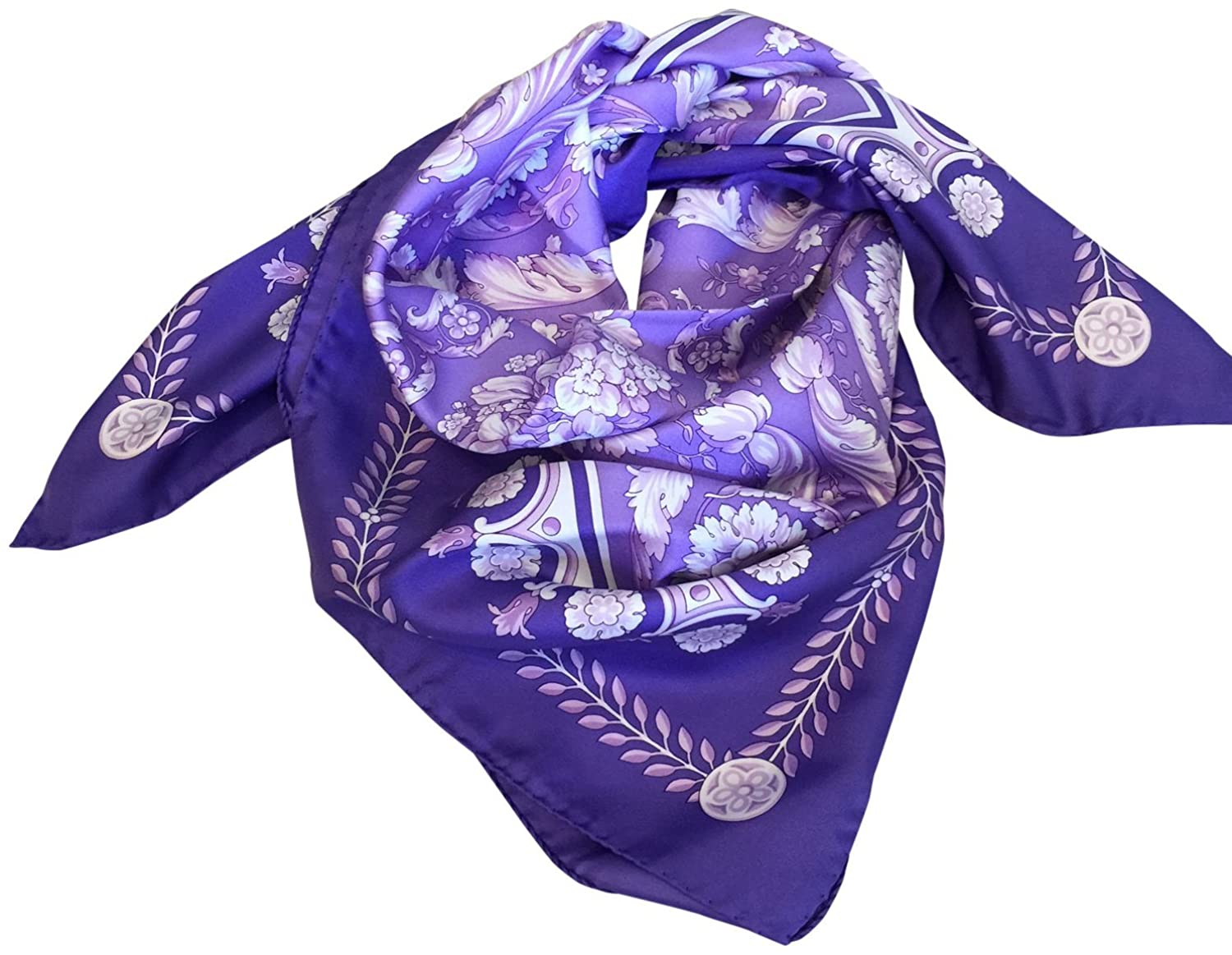 Versace 100% Silk Foulard Square Scarf Purple White at Amazon Womens Clothing store: