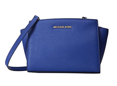 2b496efa65cbaf Image Unavailable. Image not available for. Color: Michael Kors Selma Medium  Messenger Electric Blue/Gold