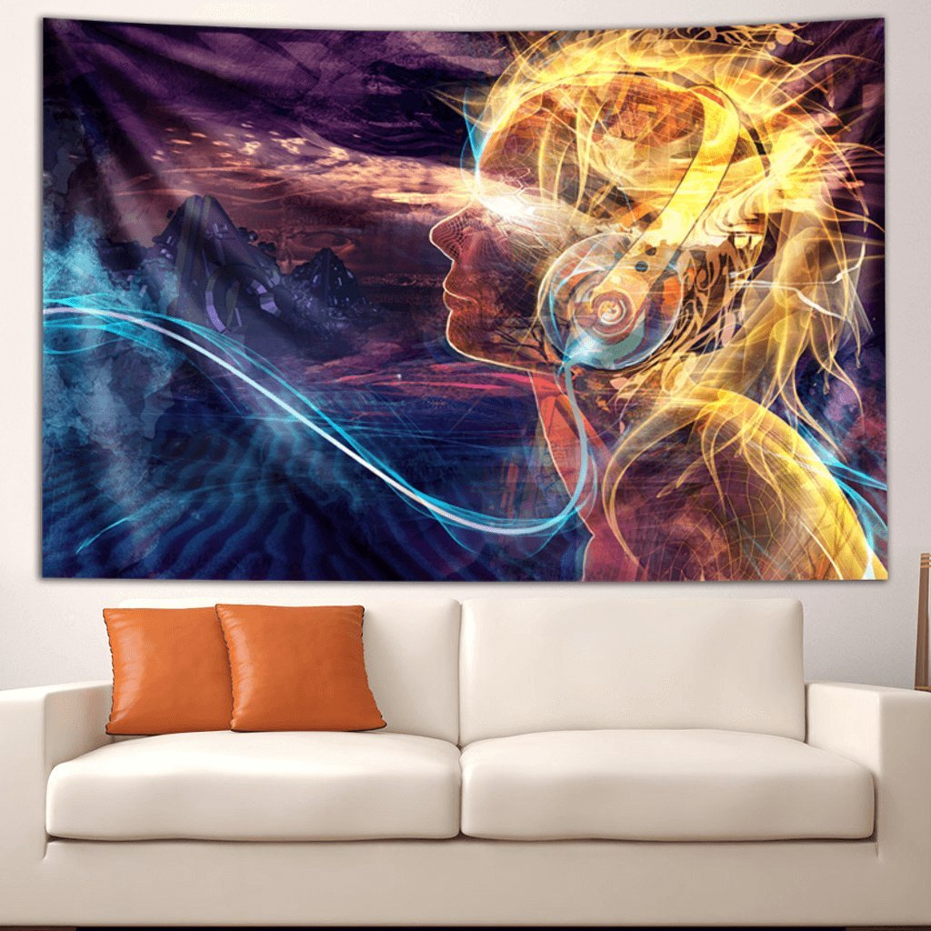 Solar Flare - by Third Eye Tapestries - Wall Tapestry - Wall Hanging - Digital Art Tapestry