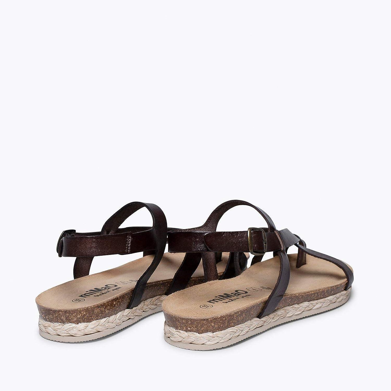 Zapatos miMaO. Zapatos Piel Mujer Hechos EN ESPAÑA. Sandalia Plana Bio Mujer. Sandalia de Tiras Cómoda con Plantilla UltraConfort Gel Marrón