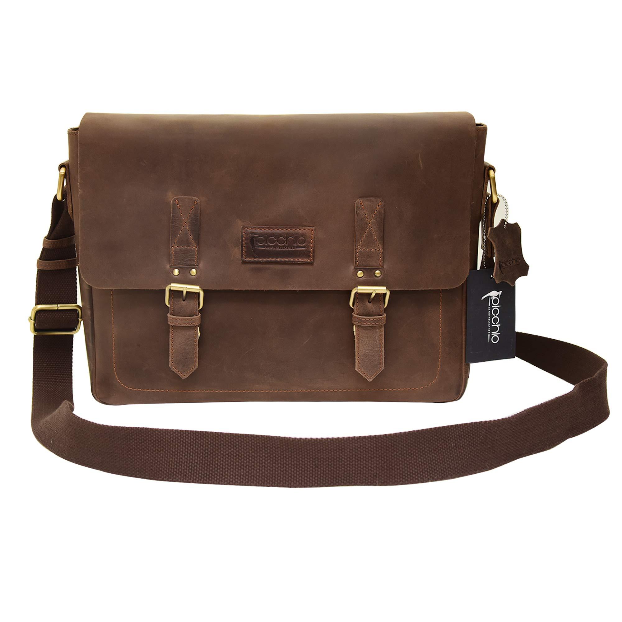 Picchio Men's Genuine Brown Leather 14'' Laptop Bag, Satchel Bag, Messenger Shoulder Bag