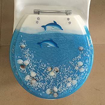 Elongated Clear Seashell And Seahorse Resin Toilet Seat