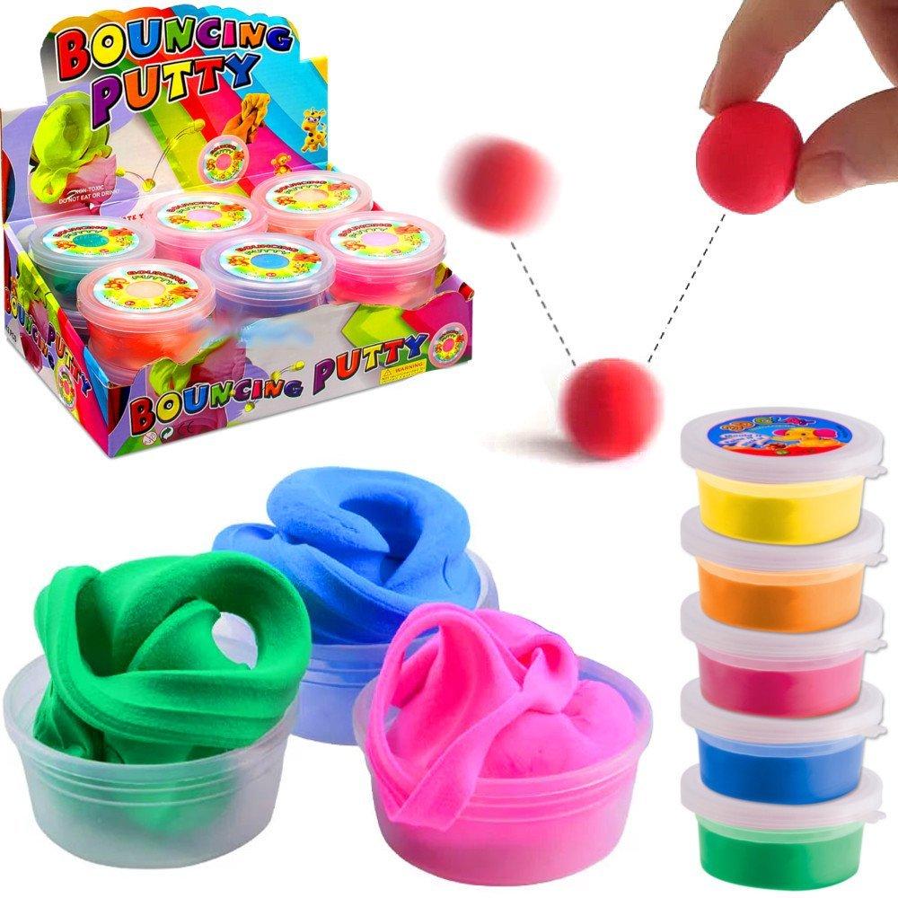 German Trendseller® - 12 x pâte á modeler rebondissante┃ loisirs créatifs┃ mélange de couleurs ┃ l'anniversaire d'enfant ┃ petit cadeau