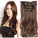 """22 """"Full Clip tete dans les extensions de cheveux Ombre Wavy Curly Dip Dye 7 Pcs brun chocolat"""