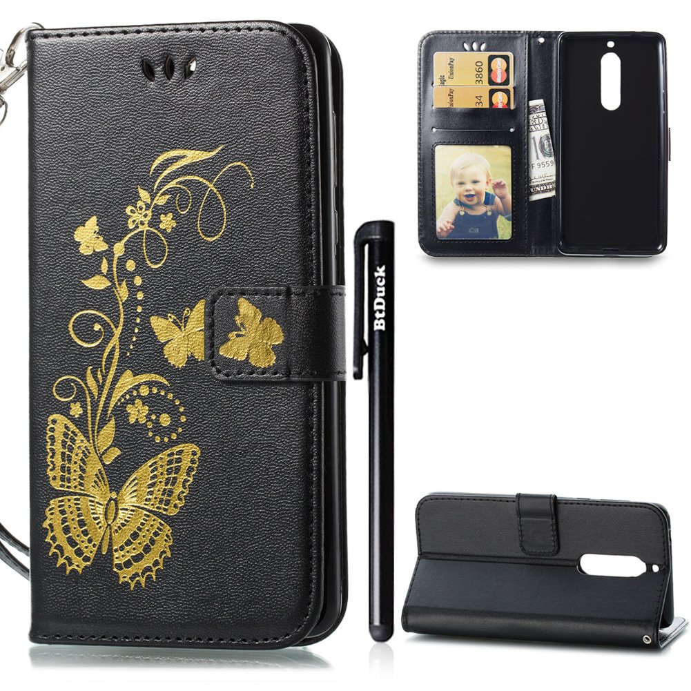 Case for Nokia 5, Nokia 5 Phone Case, BtDuck Leather Case Shockproof Phone Protector Strict Magnetic Closure Cover Anti-scratch Slim-fit Cover Clear Stand Flip Case Phone Accessories Inner Soft Silicone Case Butterfly with Card Holder Retro Flip Wallet Cas