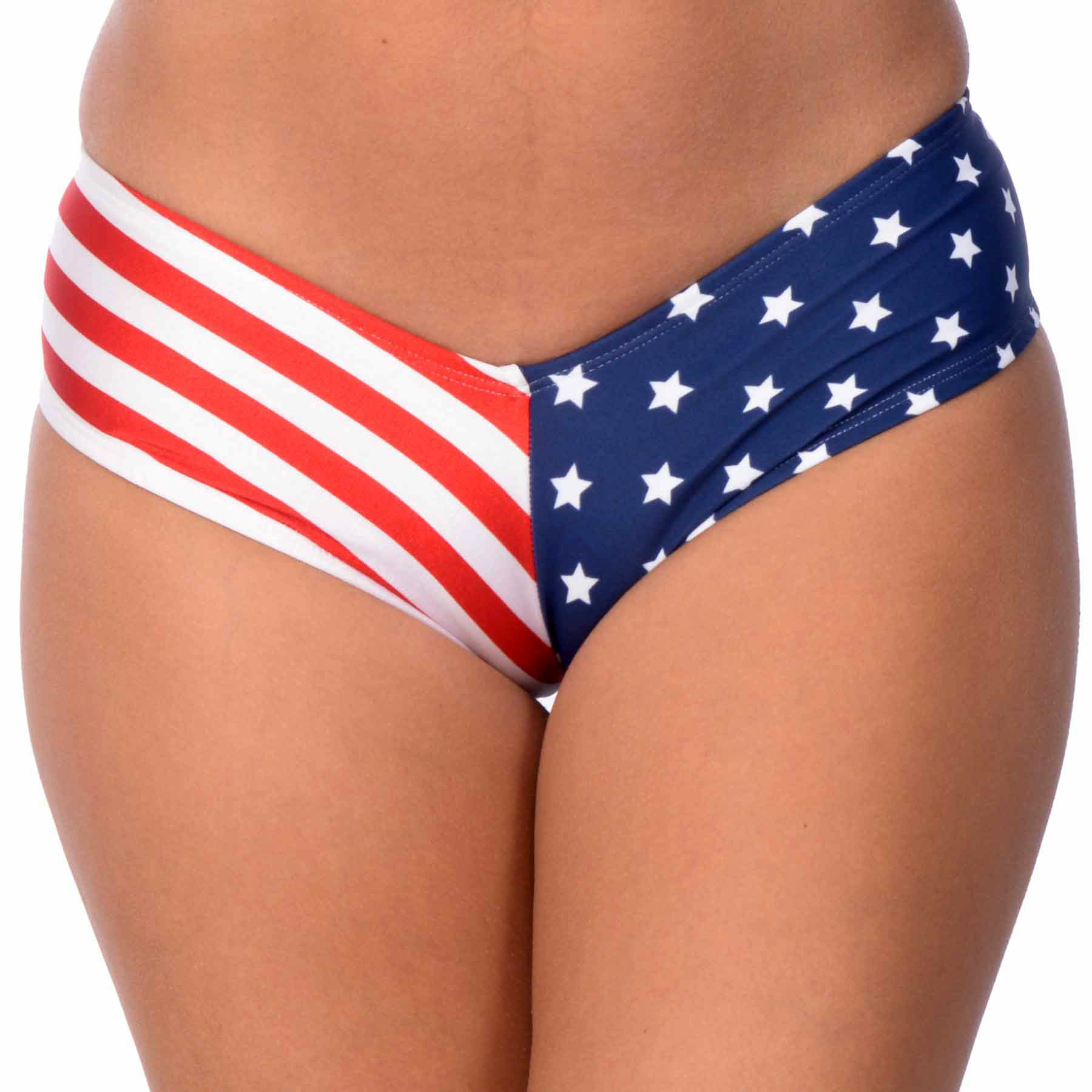 Women's Brazilian V-Style Swimuit USA Stars & Stripes Bikini Bottom (Medium, USA)
