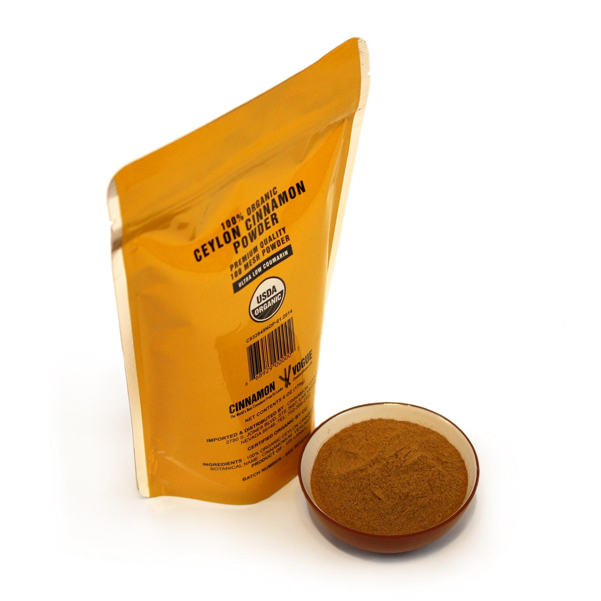 Ceylon Cinnamon Powder – 6 oz. (100% USDA Organic) - Ultra Premium Fine 100 Mesh Powder, Salt Free, Non irradiated, Low Coumarin by Cinnamon Vogue (Image #4)
